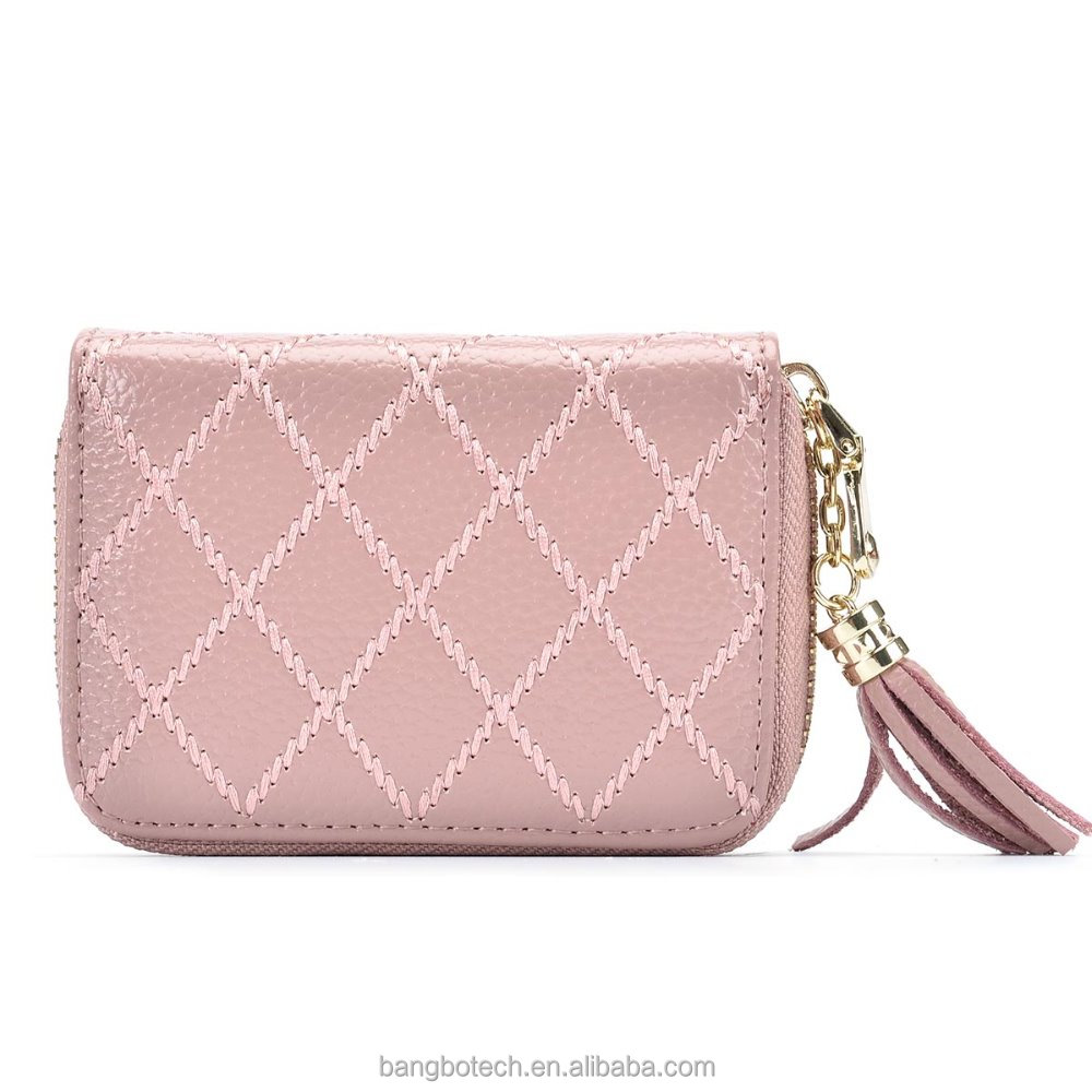Card Holder Wallet Genuine Leather RFID Protection Cute Spacious and Secure,Organ bag With Tassel Pale Mauve