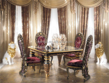 Antique Italy Style Imperial Dining Room Furniture Ornate Luxurious Square Br Marquetry Inlay Wooden