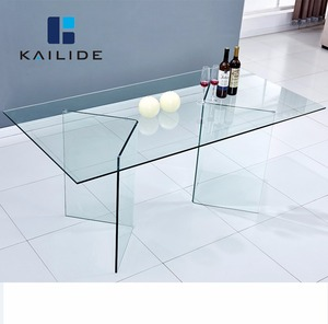 Modern Restaurant Hotel Banquet Dining Room Table Glass Dining Table