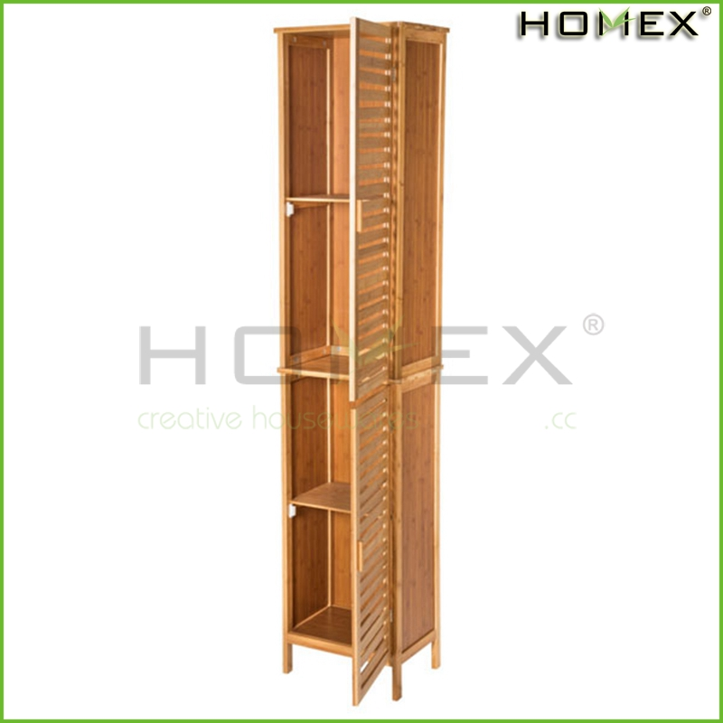 Bamboo Custom Tall Storage Cabinet with door Homex-BSCI Factory