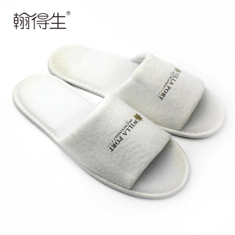 custom made disposable guest poly fleece open toe four season slippers