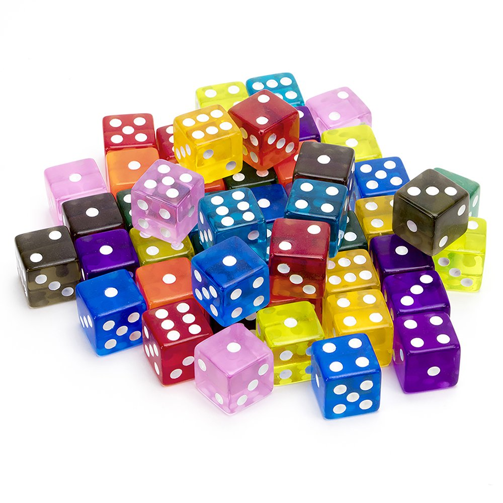 50-pack Translucent 6-sided Game Dice, 10 Sets of Vintage Colors, 16mm Dice for Board Games and Teaching Math by Brybelly