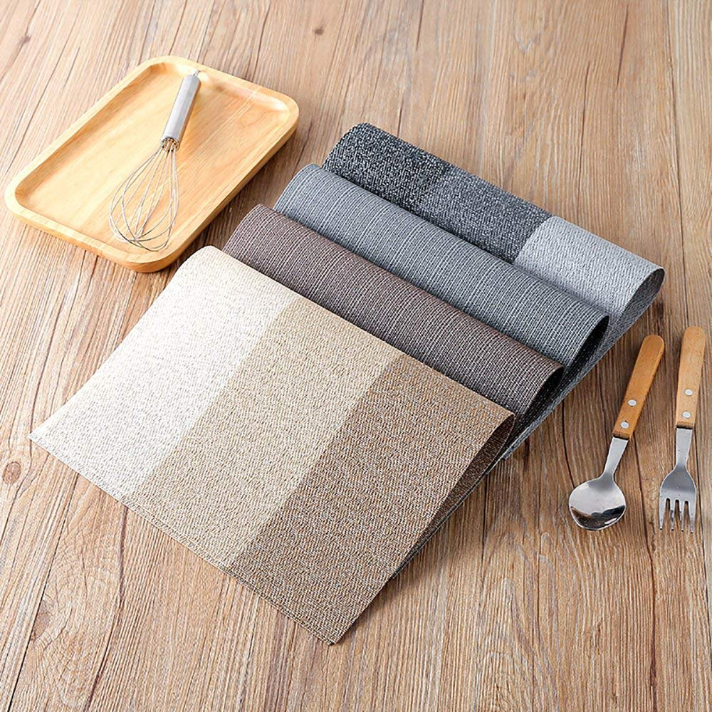 Winning Table mats set of 4, Heat-resistant Non-slip Insulation PVC Placemats for Kitchen Dining Table Decoration (Coffee)