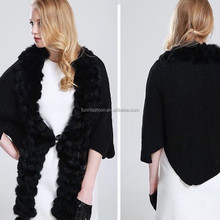 New Product Hot Sale Knitted Wool Cape with Rabbit Fur Pom pom Ball Poncho