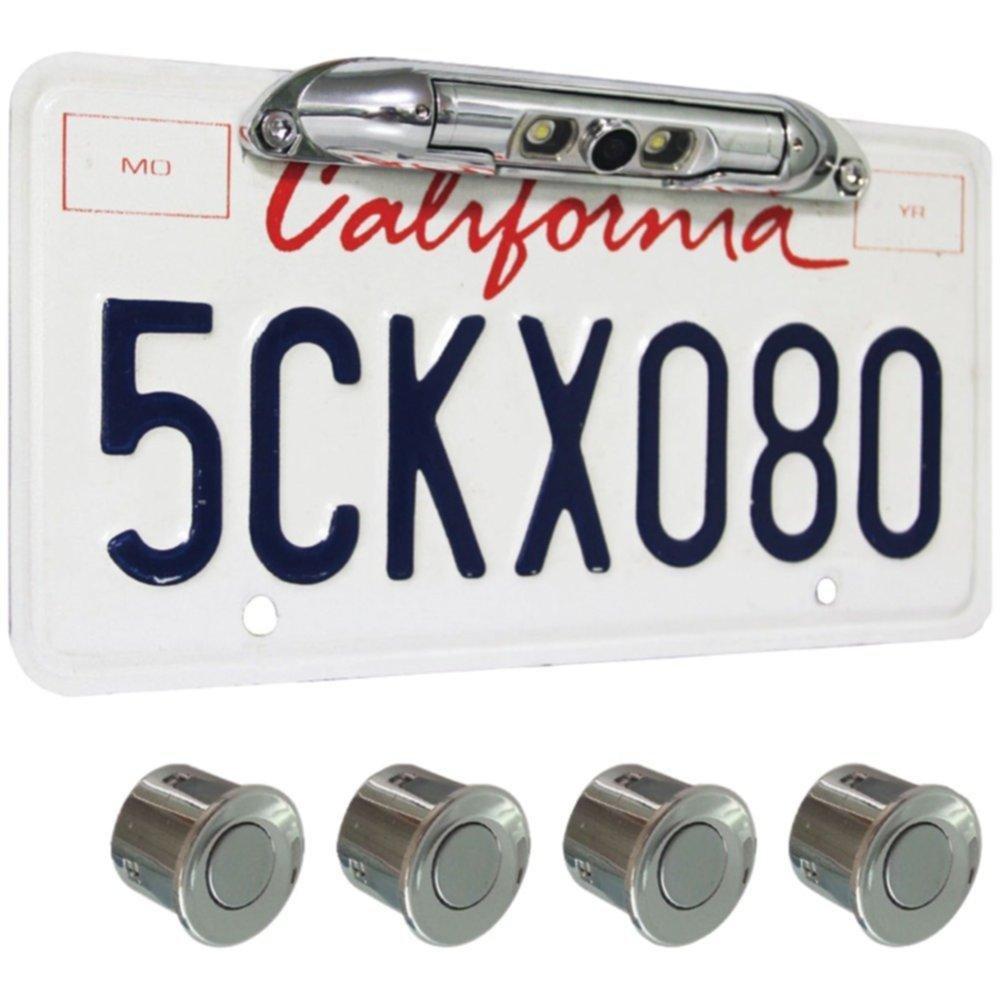 BOYO VTL400CLP-CR Bar-Type License Plate Camera with LED Lights & 4 Rear Parking Sensors (Silver) consumer electronics