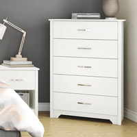 Home Multi 5 Slide Drawer Wood Small White Corner Storage Cabinet With Drawers