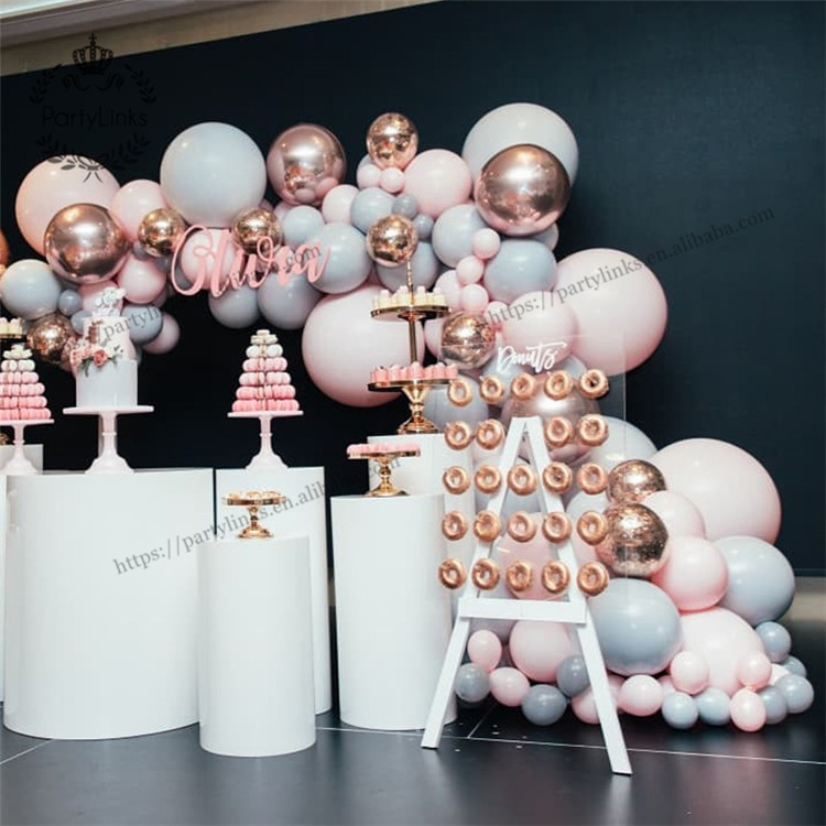 "328 pcs Macaron Balloon Arch Garland Kit Double Stuffed 5""-18"" Pink Gray Rose Gold Confetti Balloons Bulk 16ft for Party Event"