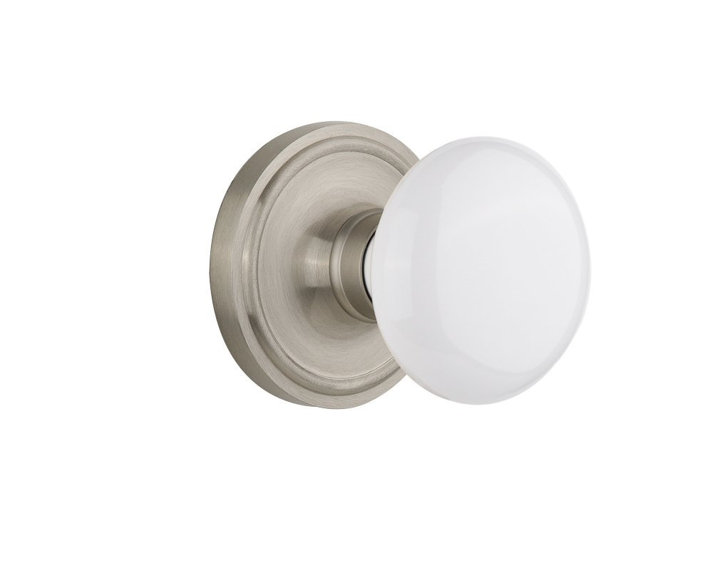"Nostalgic Warehouse Classic Rosette with White Porcelain Door Knob, Passage - 2.375"", Satin Nickel"
