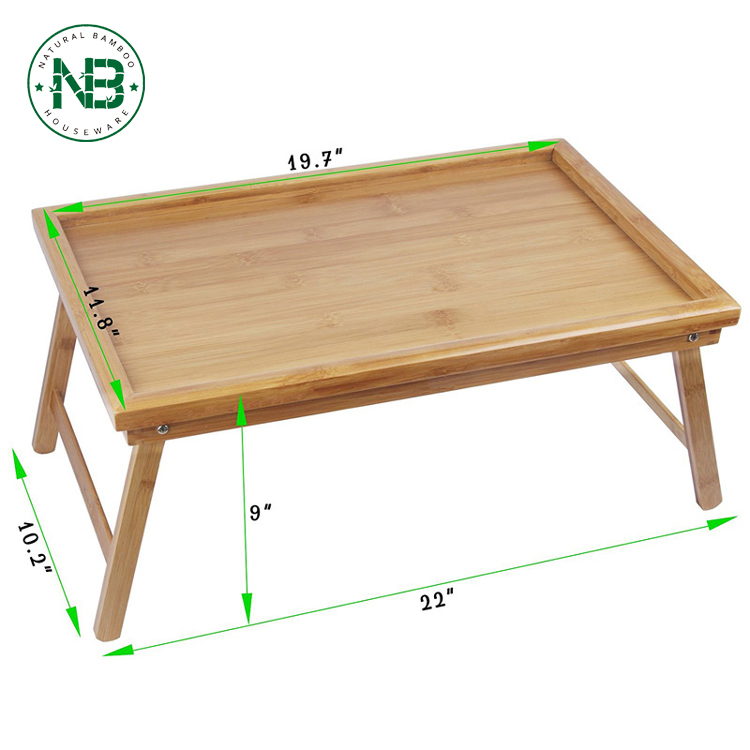 100% Natural Bamboo Bed Tray Table with Folding Legs,Serving Breakfast in Bed or Laptop Computer Tray
