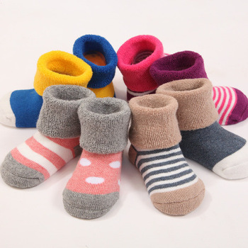Newborns Baby Fashion Cute 0-3 Year Soft Cotton Thicken Warm Terry Socks For Toddler Autumn Winter Kids Infant Boys Girls Socks