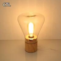 Modern hotel restaurant E27 edison bulb glass table lamp wood base