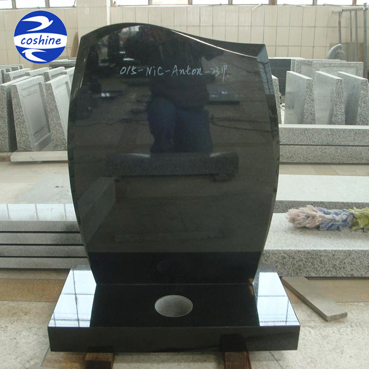 Western(Uk) style china absolute black granite polished memorials & headstones
