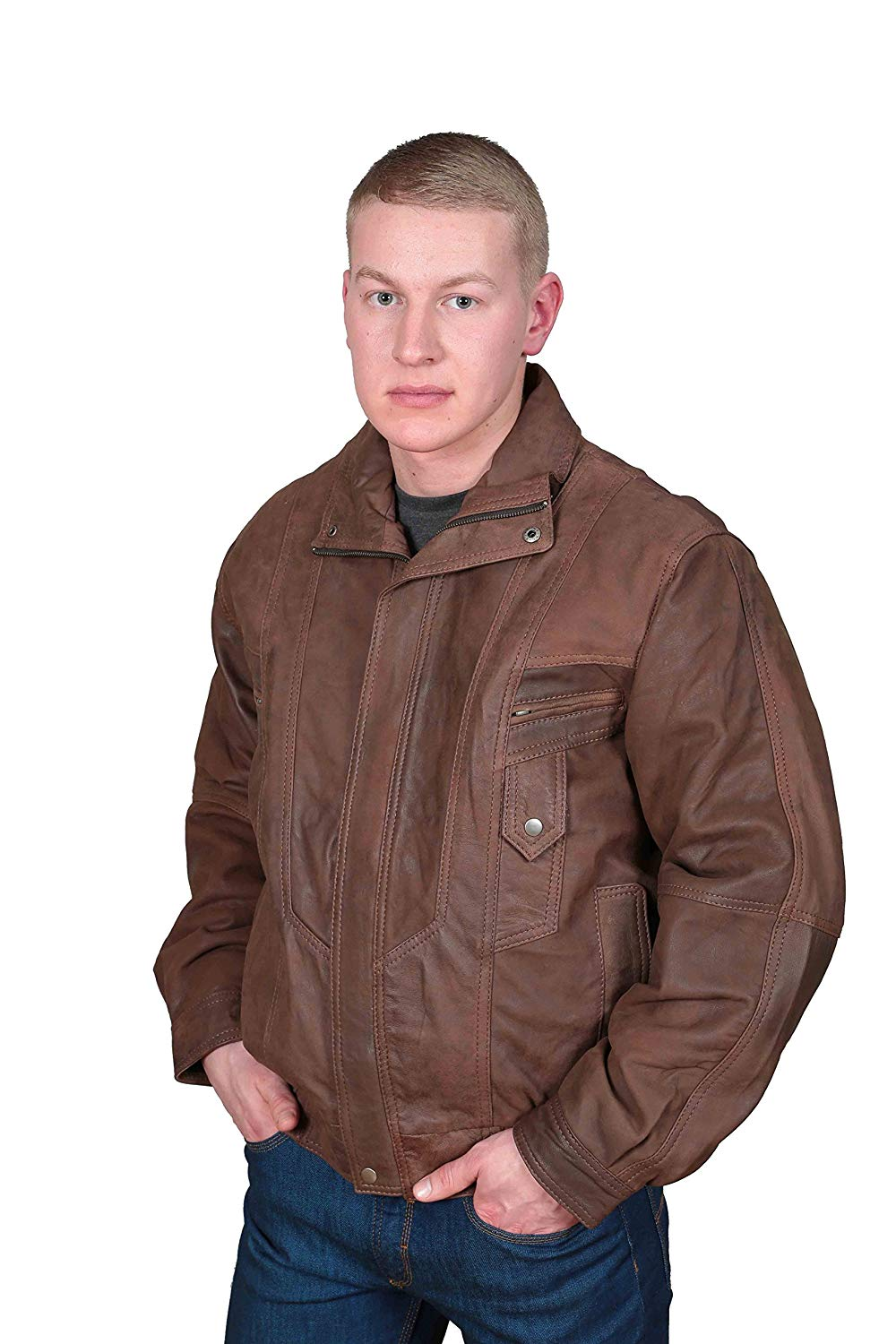 A1 FASHION GOODS Mens Classic Blouson Leather Jacket Alan Brown Gents Bomber Style Leather Jacket