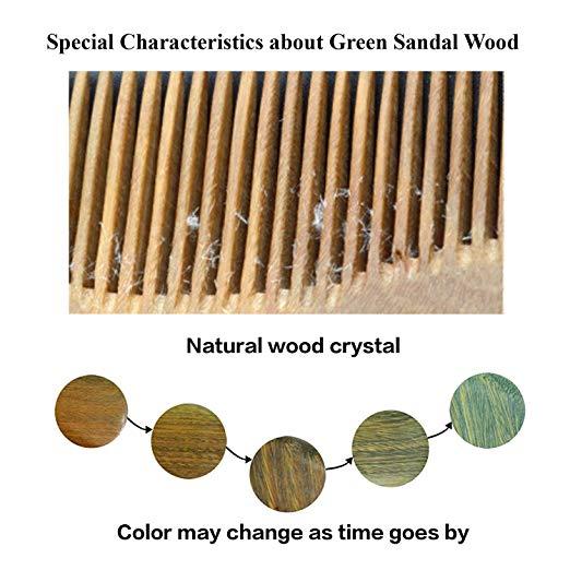 Handmade 100% Natural Green Sandalwood Hair Combs - Anti-Static Sandalwood Scent Natural Hair Detangler Wooden Comb