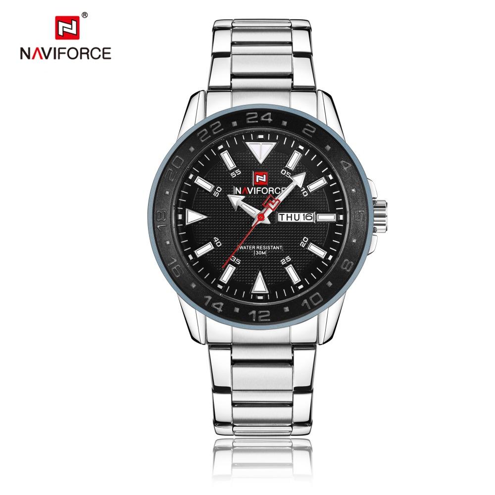 bfc31ca722c1 Mens Watches Top Brand Luxury NAVIFORCE 9109 Fashion Quartz Watch Men  Waterproof Full Steel Gold Wristwatches