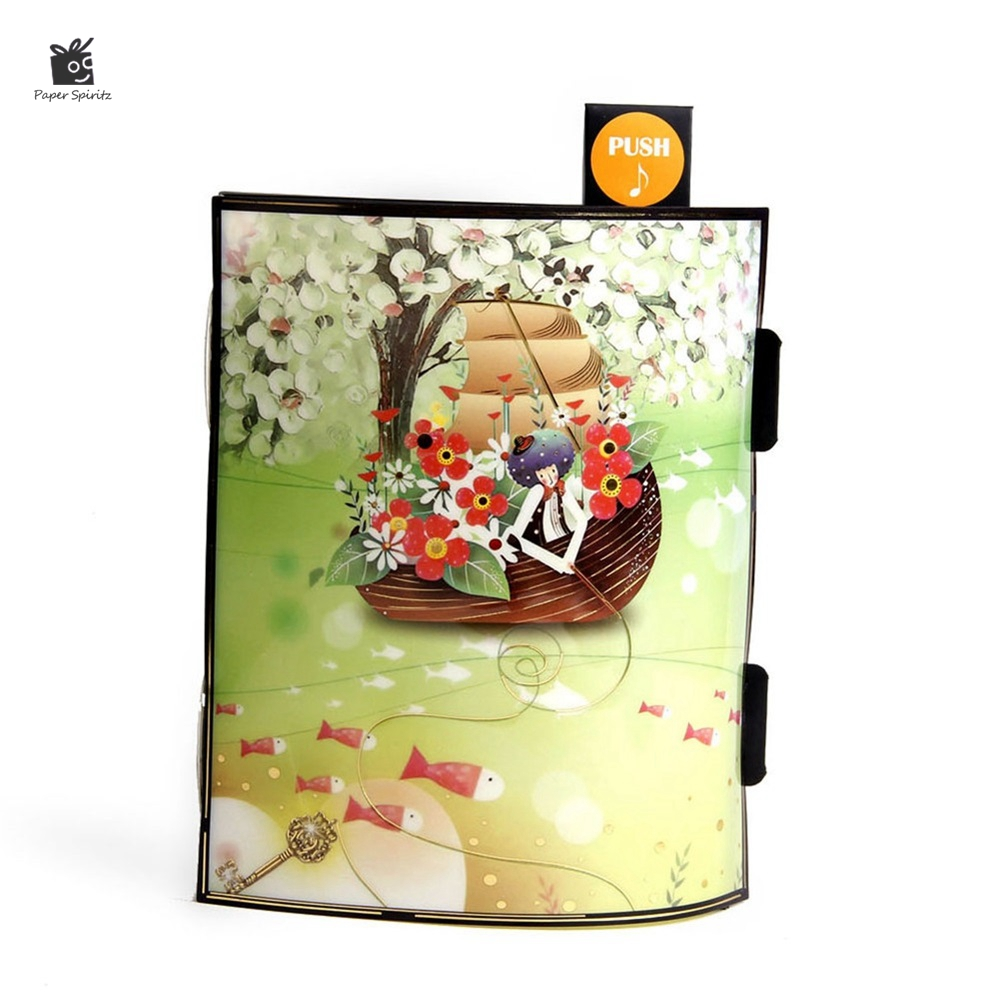 Vintage Boat Postcards Handmade 3D Pop UP Musical Greeting Cards Happy Birthday Gift Card with Envelope