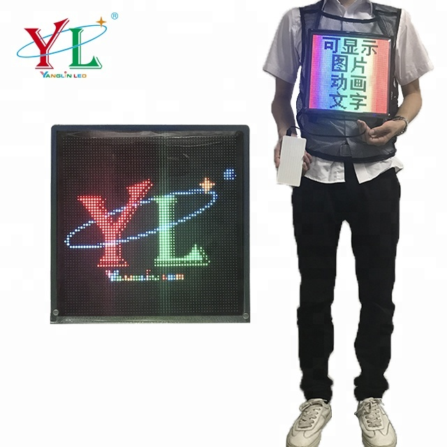 2019 new backpack advertising LED vest waistcoat with full color led display <strong>screen</strong>