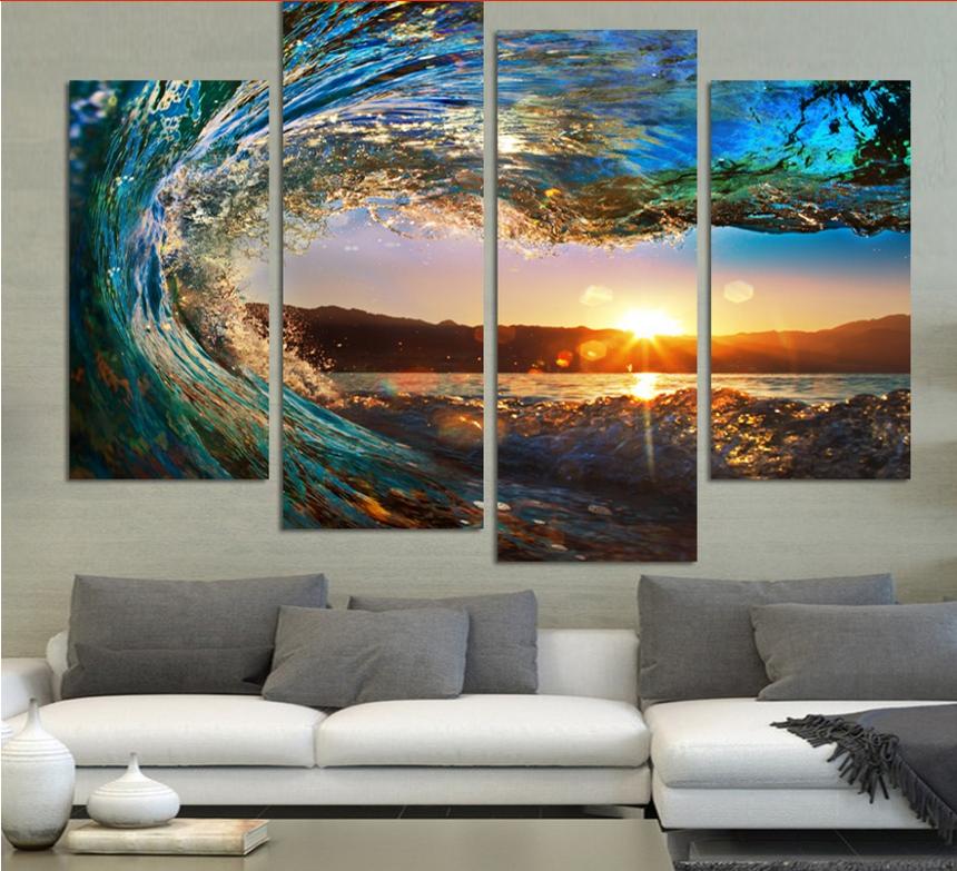 4 paneles enmarcado mar ola paisaje Wall art imágenes de impresión ...