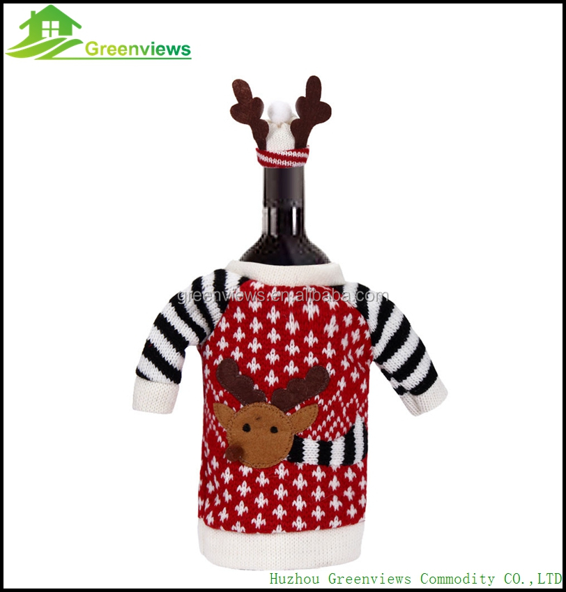 Christmas ornaments wine bottle cover bag