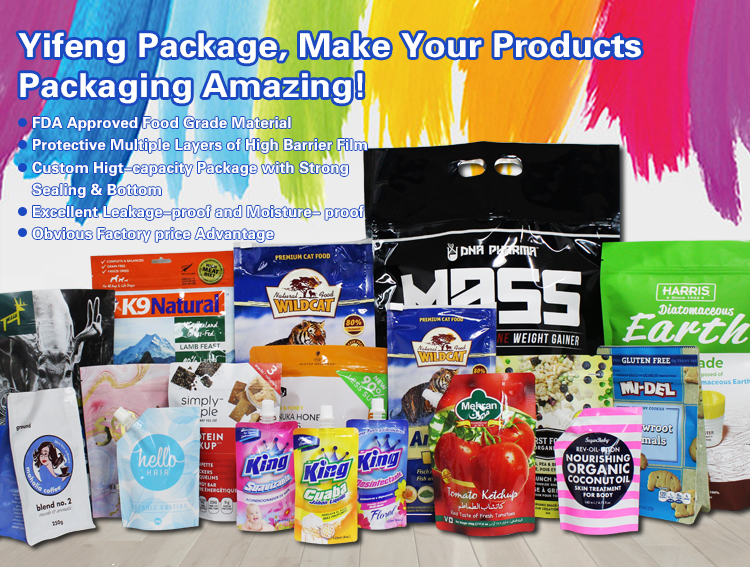 Coconut Flour Sachet Printing Laminated Cassava Chips Zip Lock Pouches Plastic Zipper Sugar Scrub Bag Dry Pasta Packaging