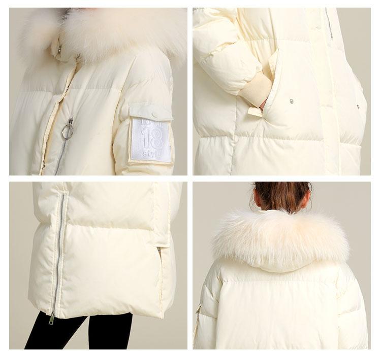 ODM New Herbst und Winter Europäische und Amerikanische Frauen Daunenjacke lange weiße Entendaunen warme Mode Kapuzenjacke