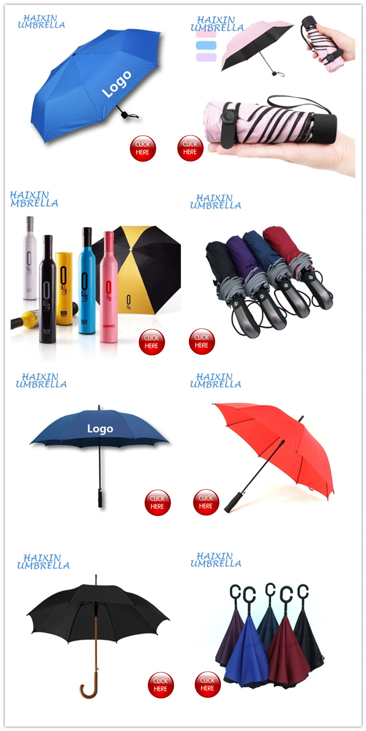 Business-related Big Black Windproof Compact Travel Automatic Umbrella 3 Fold with Gift Box and Leather Bag Packing