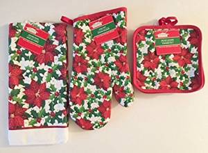 Christmas House Poinsetta Holly Berry Kitchen Linens Collections 4 Pc