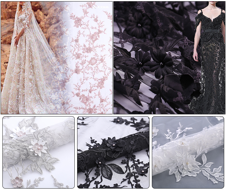 MX181-2 high quality luxury 3D flower lace fabric couture fabric handmade beaded embroidery lace bridal fabric