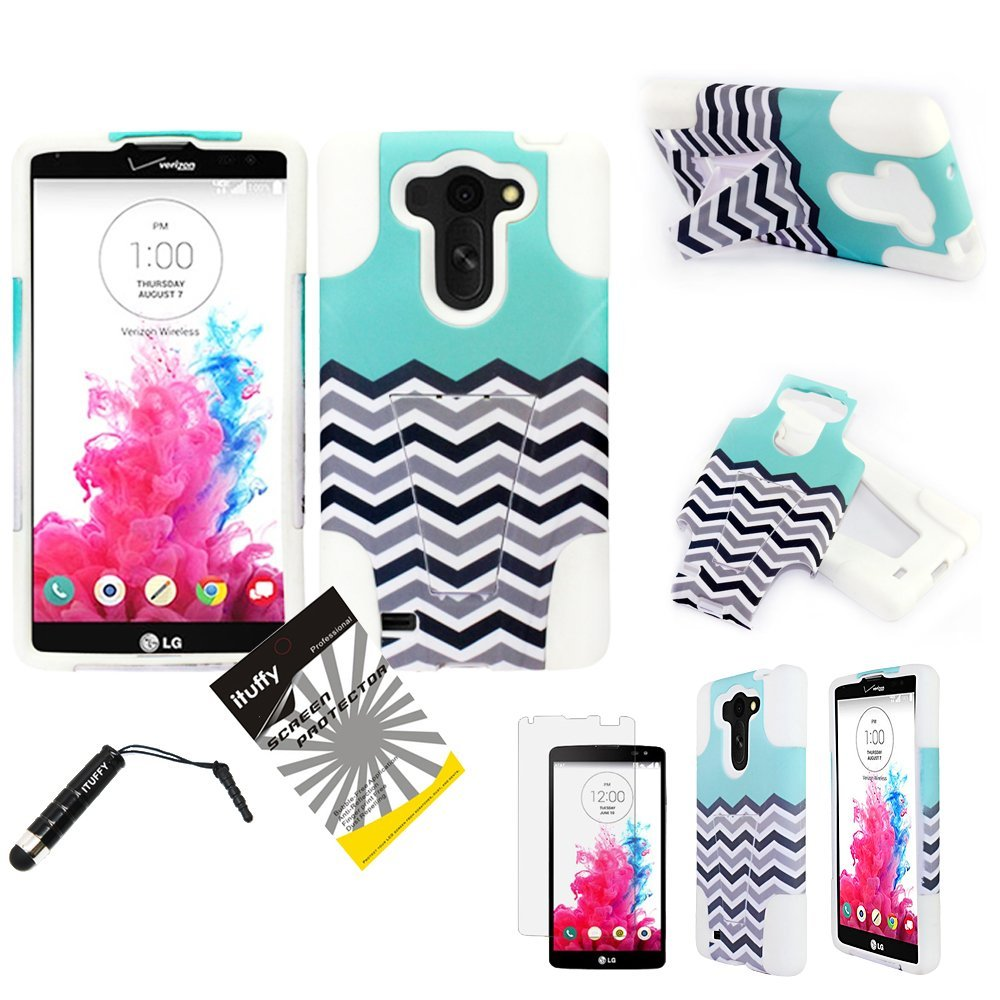 For LG G Vista VS880, LG G Vista, ITUFFY(TM) LCD Screen Protector Film + Stylus Pen + 2 tone Design (Dual Layer-Plastic + Soft Rubber) Built-in KickStand Impact Resistance Tuff Armor Case (Blue Chevron Wave - White)