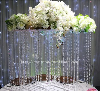 Tall Square Acrylic Centerpiece Crystal Wedding Flower Stand