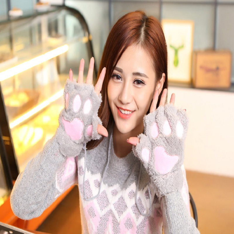 Wholesale Fashion Winter Cosplay Cat Bear Plush Paw Claw Gloves Half