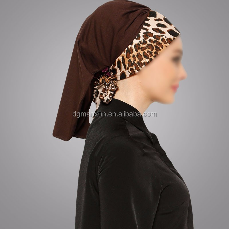 Wholesale Hijabs Brown Leopard Arya Instant Shawl Combed Cotton Bonnets