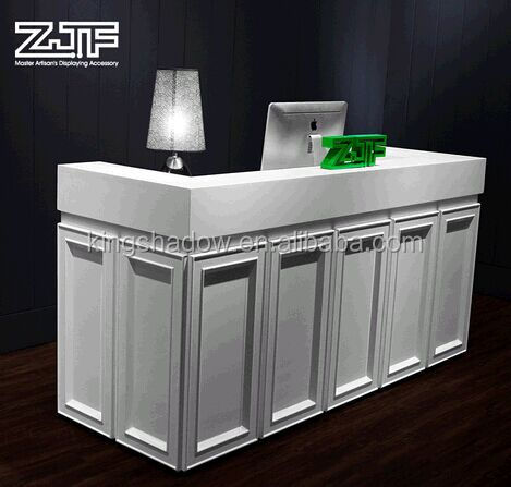 2015 white reception desk free standing counter hotel for Hotel table design