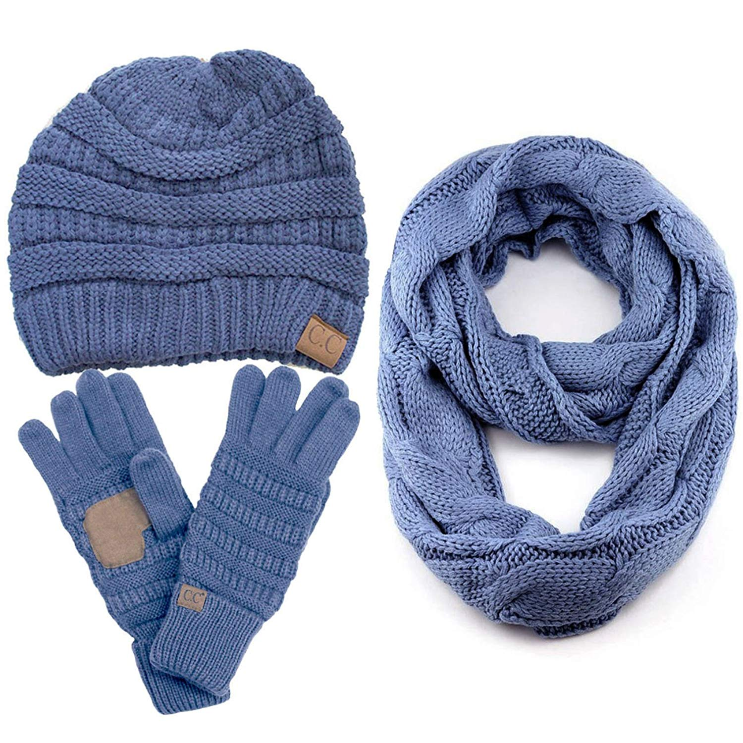 96cad48ab58 Get Quotations · ScarvesMe CC 3pc Set Trendy Warm Chunky Soft Stretch Cable Knit  Beanie Scarves Gloves Set