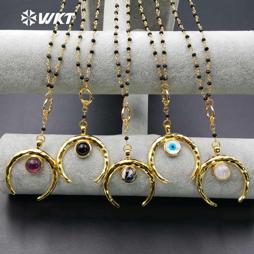 WT-N961 WKT Wholesale Hot Sale High quality Custom Multiple Natural Stone Pendant moon shape Necklace With Black Beads Rosary