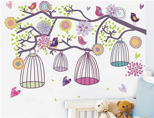 New arrivals cartoon children room Birdscage Big Flower Vinyl wall stickers for kids decorative  mural wall paper Kids room