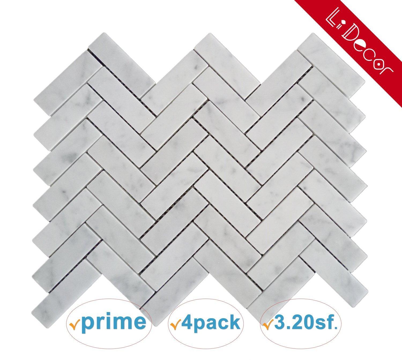 Italian Bianco Carrara White Marble 1 x 3 In. Herringbone Mosaic Tile Wall Floor Decorative Bathroom Kitchen Backsplash Tiles (3.20sf.,4Pack Per Case), Honed