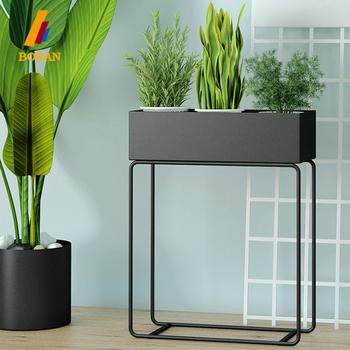 Matte Black Steel Iron Column Shaped Rectangular Flower Pots Stands