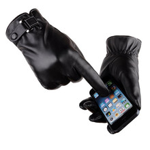 2017 New Fashion Men's Classical Motorcycle Driving Winter Warm PU Leather Touch Screen Mittens Gloves for Smartphone
