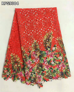 Multicolored lace fabric high quality print african cord lace dress guipure for ladies RFG93