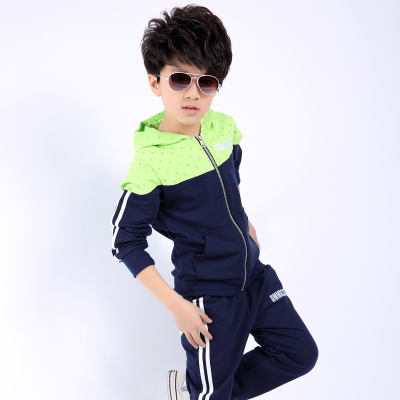 2015 Brand Big Boys Tracksuit Sets Cotton Long Sleeve 6-14y Children Clothing Sets Kids Hoodies+Pants Sportswear Tracksuit FA050