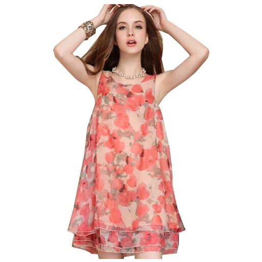 ace89ee6ce26 Get Quotations · Plus Size Summer Vestidos Chiffon Print Floral Dot Cute  Dress Mini Women Round Neck Cascading Loose