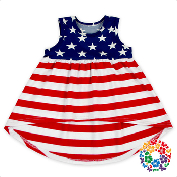 d828dc43cfb New Arrival 4th Of July Girl Festival Clothes Red White Blue Stars Patriotic  Patten Cotton Sleeveless