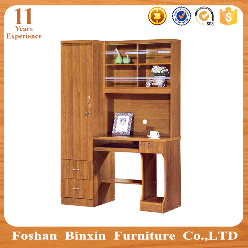 Very best Mdf Computer Table With Bookshelf Designs Pvc Door Wooden Office  FV44