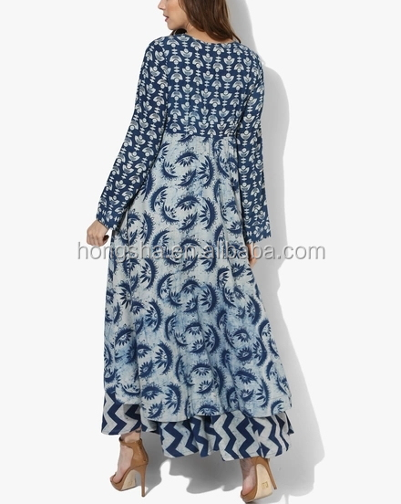 Indigo Printed Full Placket Anarkali Ladies Punjabi Kurta Design With Embroidery Ethnic Clothing HSd5245