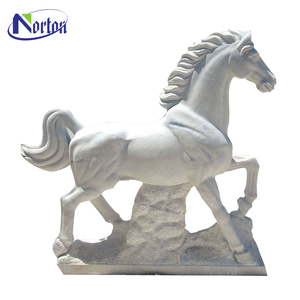 white marble life size concrete horse statues NTBM-H133S
