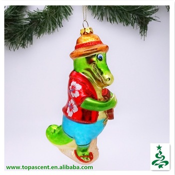 christmas hanging handblown sea animal glass ornaments- crocodile playing a guita