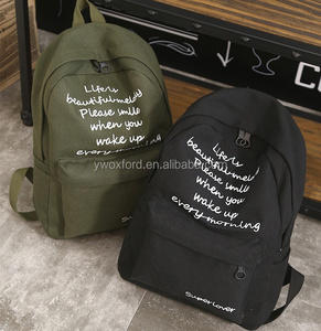 Simple Design Canvas Letters Backpacks For College Boys Senior High School Students Backpack Bags