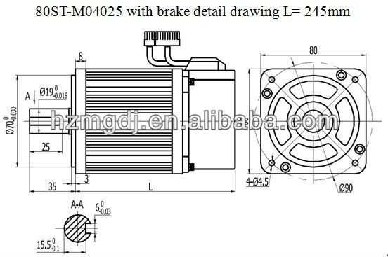 80mm middle inertia servo motor with brake 1kw