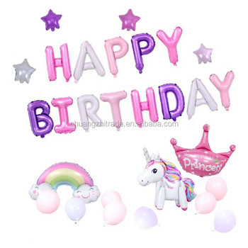 CY 1st Birthday Party Decorations Girl 3D Assembled Unicorn Set Balloon